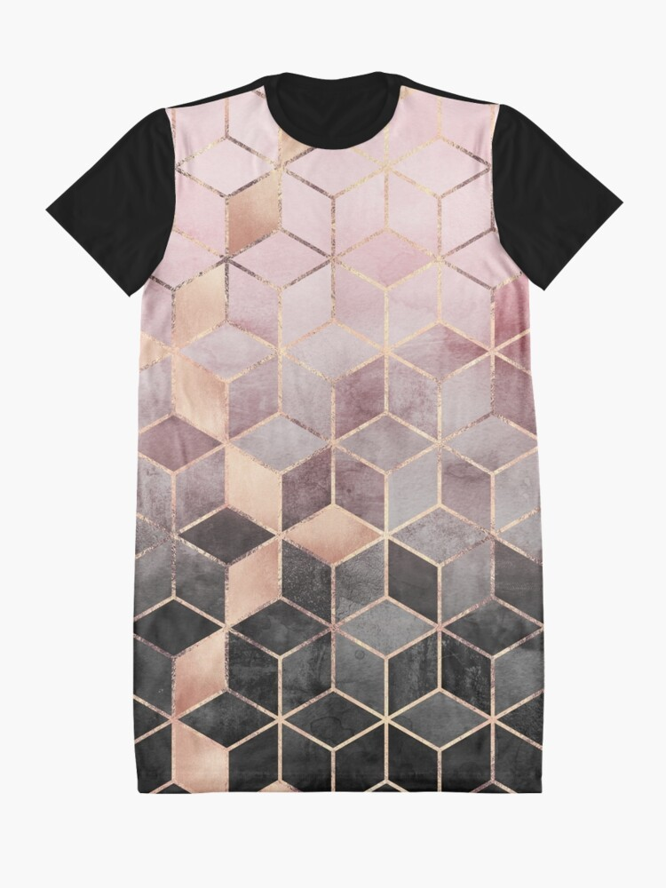 Alternate view of Pink And Grey Gradient Cubes Graphic T-Shirt Dress