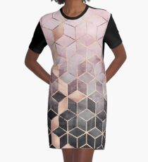 Pink And Grey Gradient Cubes Graphic T-Shirt Dress