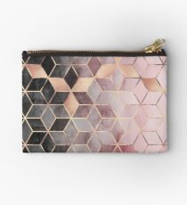 Pink And Grey Gradient Cubes Zipper Pouch