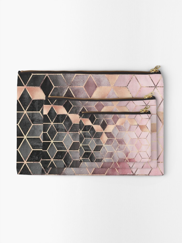 Alternate view of Pink And Grey Gradient Cubes Zipper Pouch