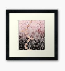 Pink And Grey Gradient Cubes Framed Print