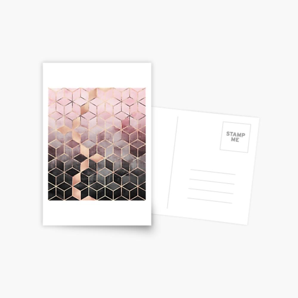 Cubos de color rosa y gris degradado Postal