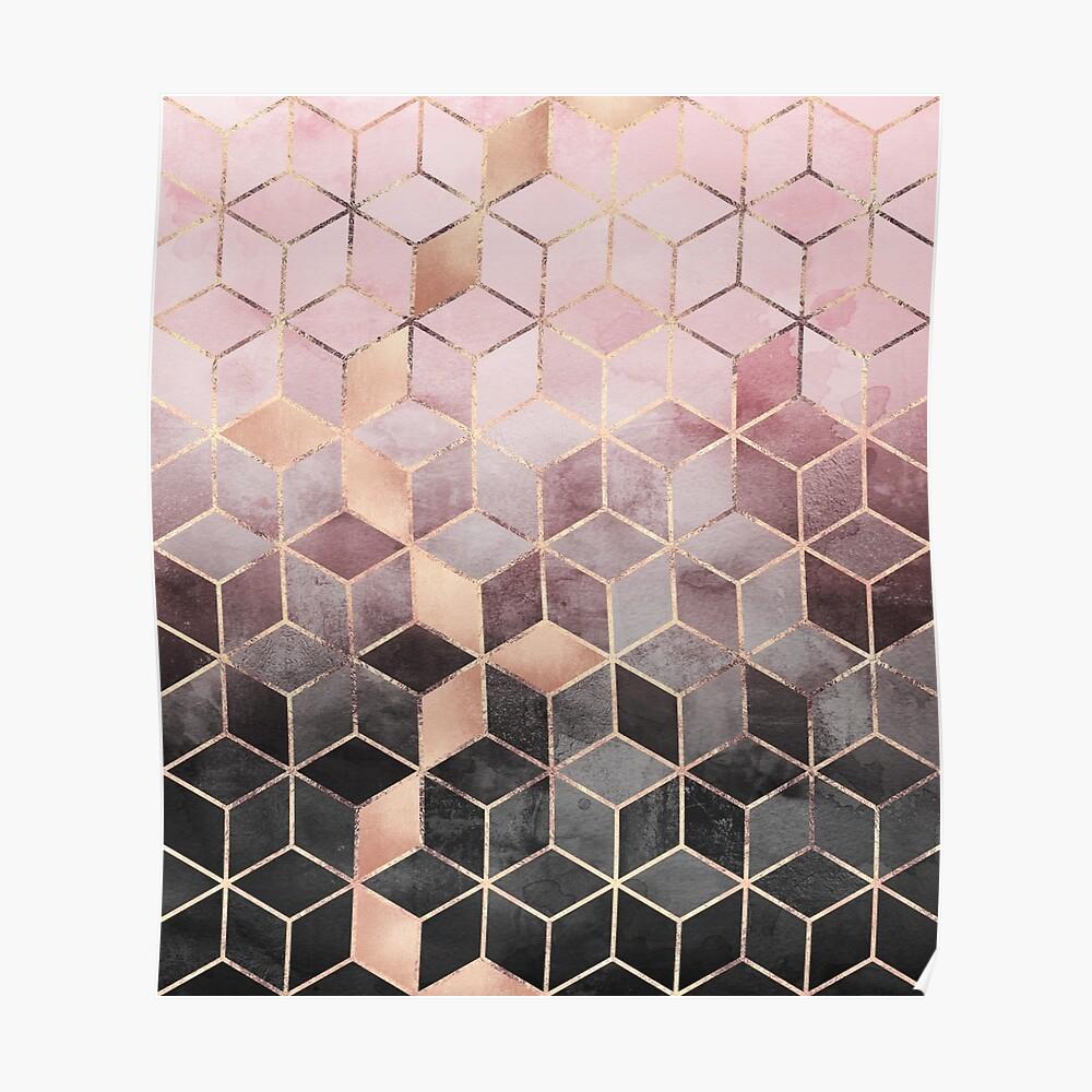 Rosa und graue Farbverlaufswürfel Poster