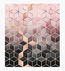 Pink And Grey Gradient Cubes Photographic Print