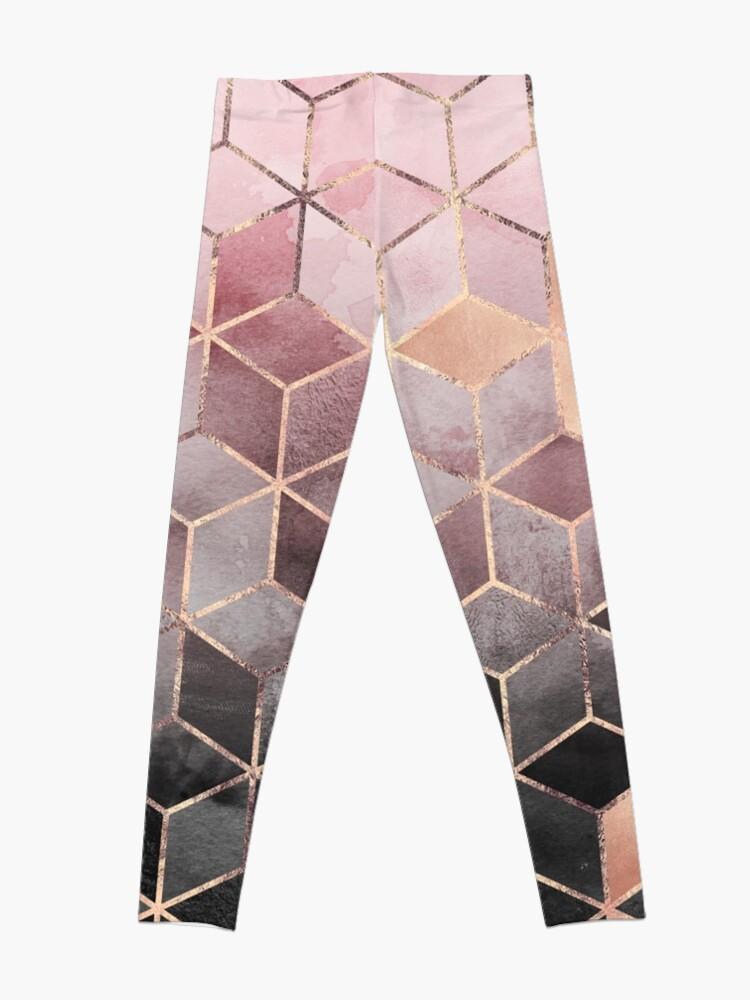 Alternate view of Pink And Grey Gradient Cubes Leggings