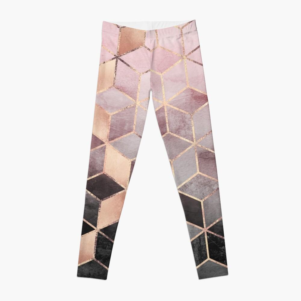 Pink And Grey Gradient Cubes Leggings