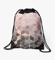 Pink And Grey Gradient Cubes Drawstring Bag