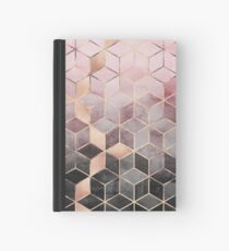 Pink And Grey Gradient Cubes Hardcover Journal