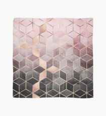 Pink And Grey Gradient Cubes Scarf