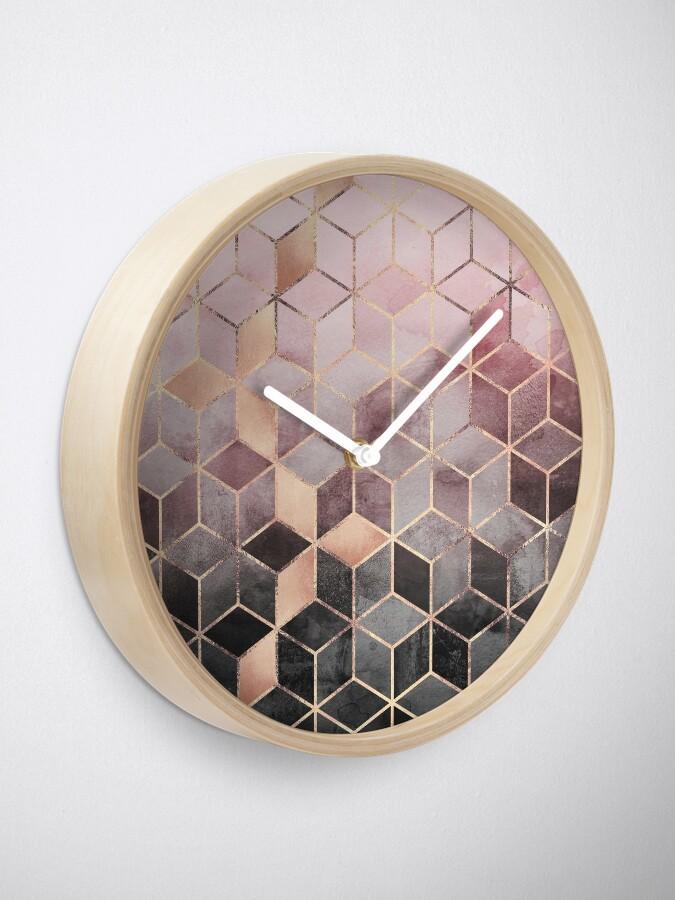 Alternative Ansicht von Rosa und graue Farbverlaufswürfel Uhr