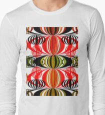 Psychedelic Retro Circles On White  Long Sleeve T-Shirt