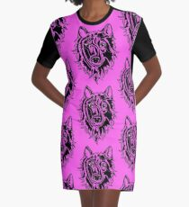 Abstract Wolf Graphic T-Shirt Dress