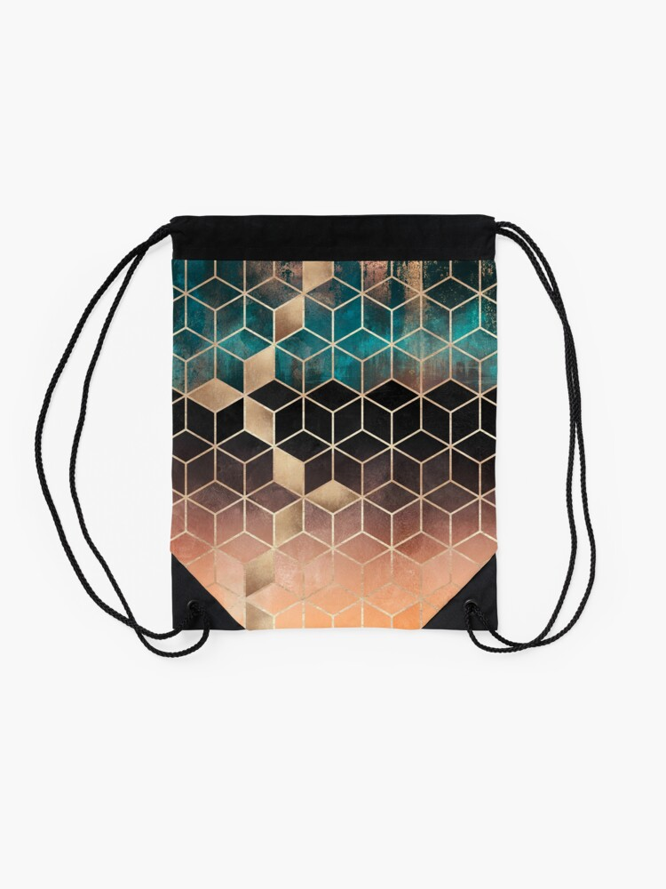 Alternate view of Ombre Dream Cubes Drawstring Bag