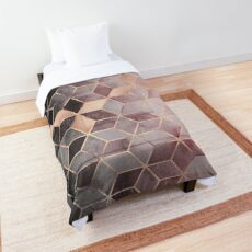 Pink And Grey Gradient Cubes Comforter