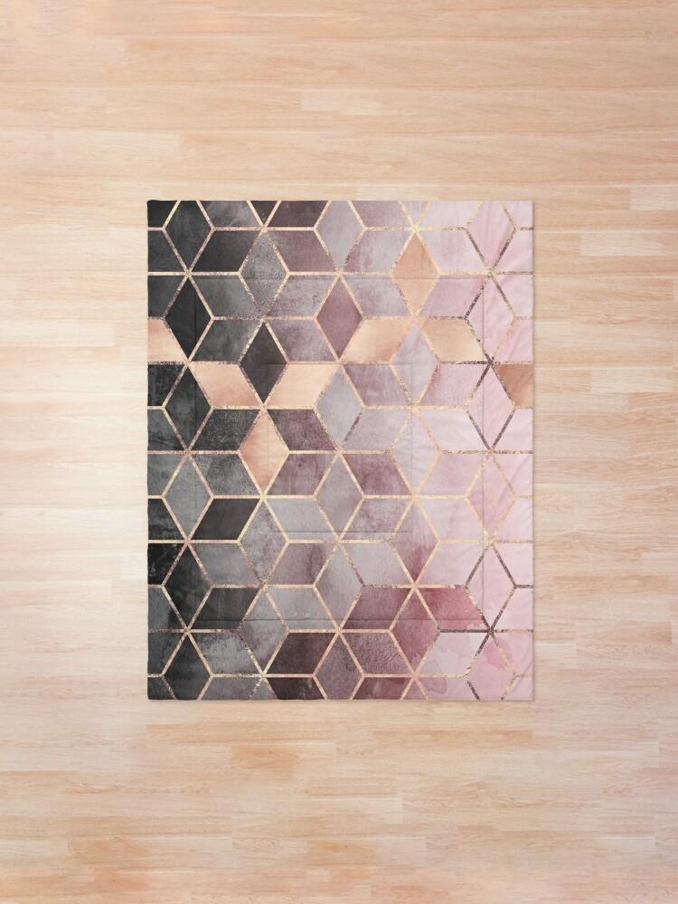 Vista alternativa de Colcha Cubos de color rosa y gris degradado