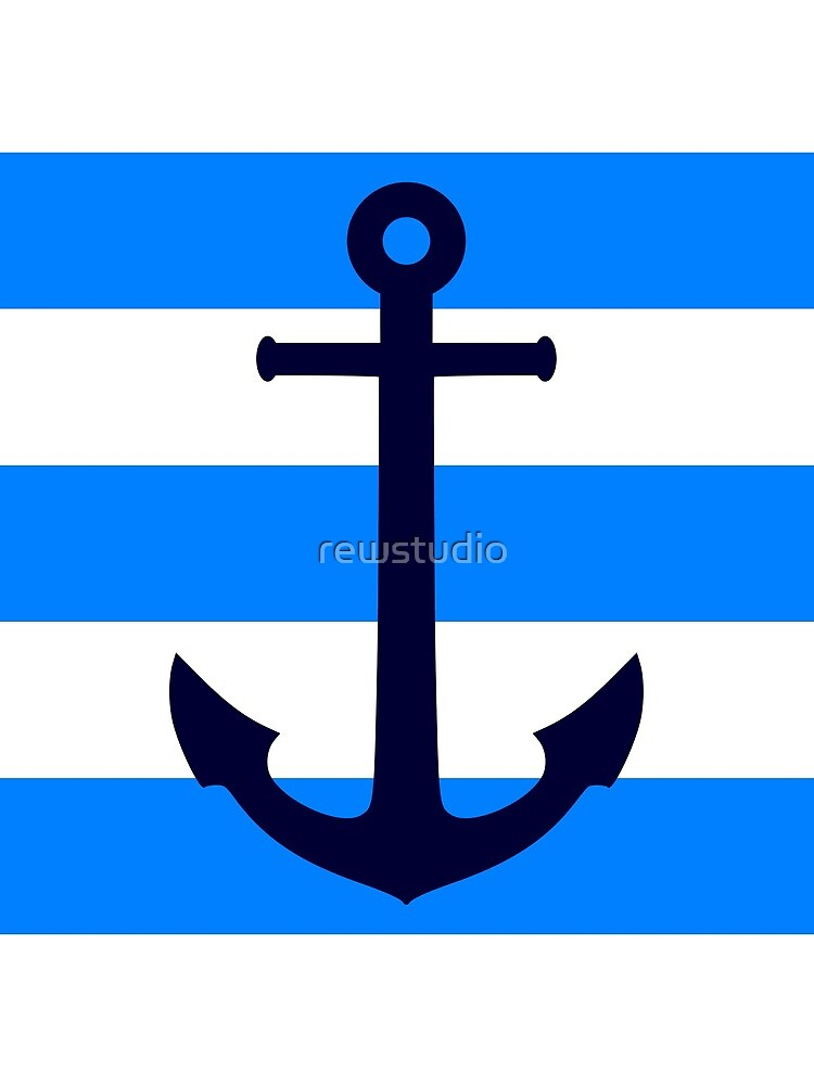 Nautical Navy Blue Anchor On Azure and White Stripes by rewstudio