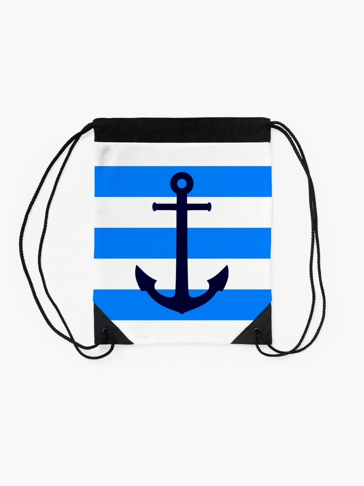 Alternate view of Nautical Navy Blue Anchor On Azure and White Stripes Drawstring Bag