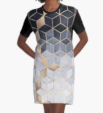 Soft Blue Gradient Cubes Graphic T-Shirt Dress
