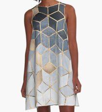 Soft Blue Gradient Cubes A-Line Dress