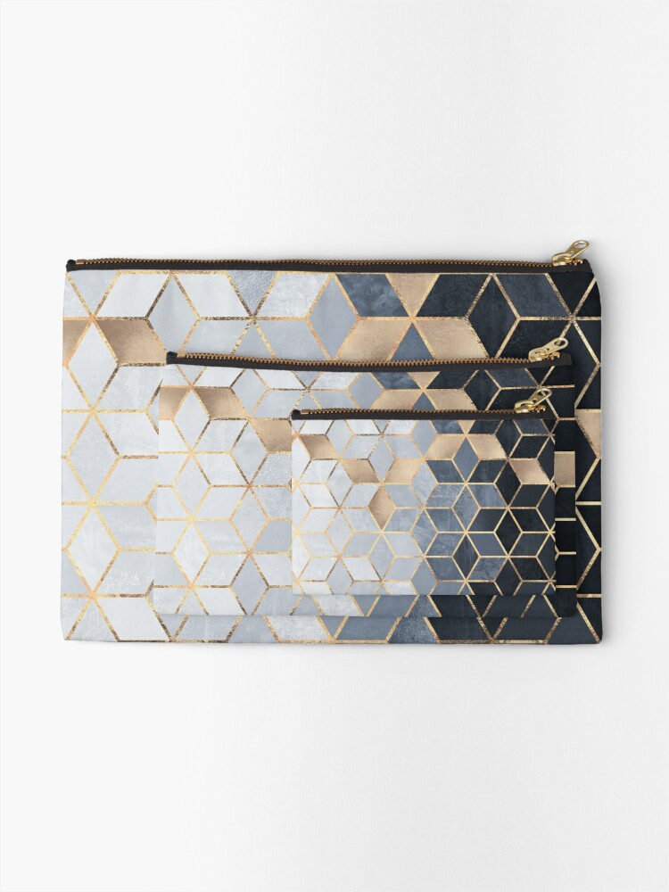 Alternate view of Soft Blue Gradient Cubes Zipper Pouch