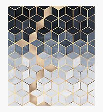Soft Blue Gradient Cubes Photographic Print