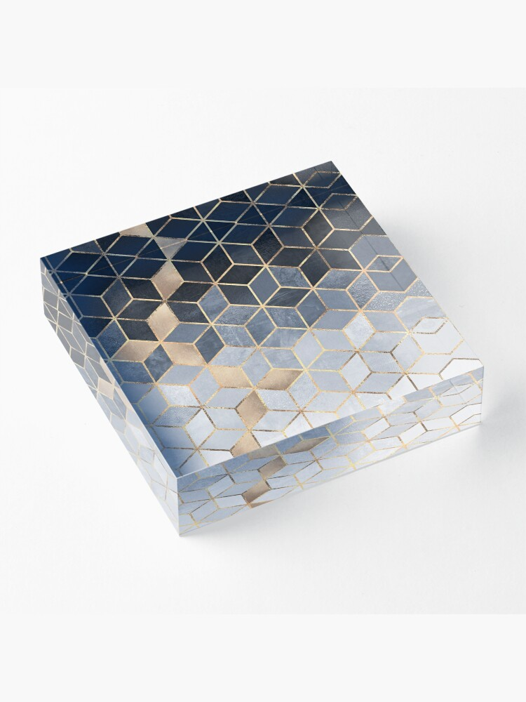 Alternate view of Soft Blue Gradient Cubes Acrylic Block