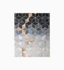 Soft Blue Gradient Cubes Art Board