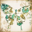Winged Tapestry Aqua Butterfly by mindydidit