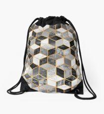 Black & White Cubes Drawstring Bag
