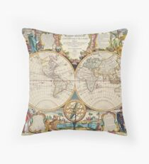 Double Hemisphere Map; Map; Jean Baptiste Nolin; c 1755 Throw Pillow