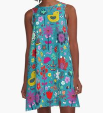Ducks and Frogs in the Garden - cute floral pattern by Cecca Designs A-Line Dress