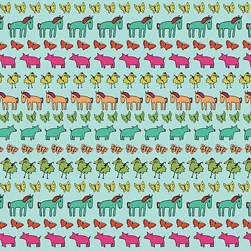 Striped Pigs and Ponies - Peach Melba - cute, fun pattern by Cecca Designs by Cecca-Designs