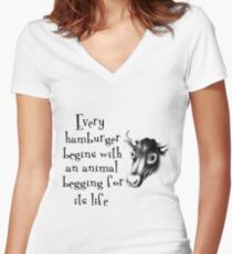 Begging For Its Life Women's Fitted V-Neck T-Shirt