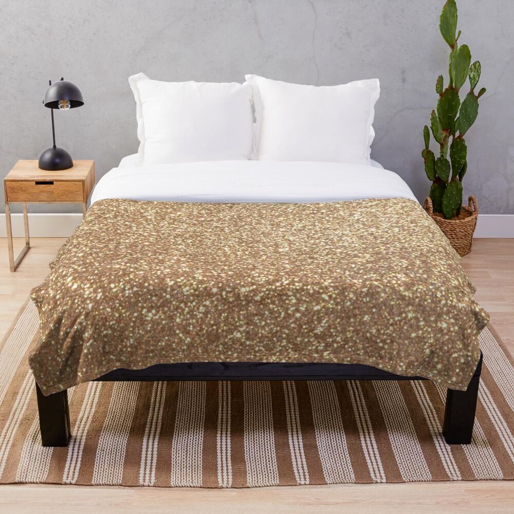 Copper Rose Gold Metallic Glitter Throw Blanket