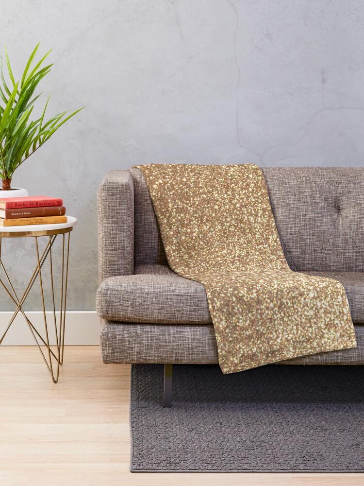 Alternate view of Copper Rose Gold Metallic Glitter Throw Blanket