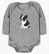 Say hello to the cute double hooded pied French Bulldog One Piece - Long Sleeve