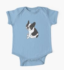 Say hello to the cute double hooded pied French Bulldog One Piece - Short Sleeve