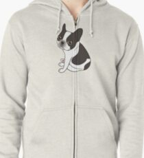 Say hello to the cute double hooded pied French Bulldog Zipped Hoodie