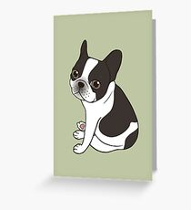 Say hello to the cute double hooded pied French Bulldog Greeting Card