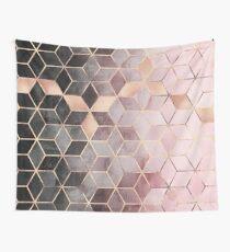 Rosa und graue Farbverlaufswürfel Wandbehang