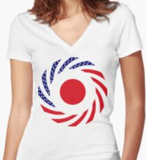 Japanese American Multinational Patriot Flag Series Women's Fitted V-Neck T-Shirt