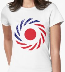 Japanese American Multinational Patriot Flag Series Women's Fitted T-Shirt