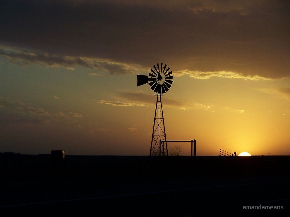 Skellytown Windmill at Sunset by amandameans