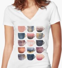 Pretty Coffee Cups 2 Women's Fitted V-Neck T-Shirt