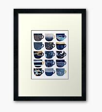 Pretty Blue Coffee Cups Framed Print