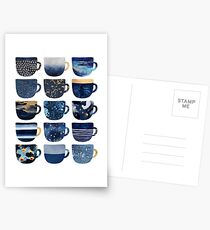 Pretty Blue Coffee Cups Postcards