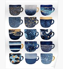 Pretty Blue Coffee Cups Poster