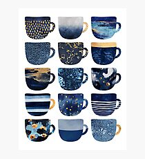 Pretty Blue Coffee Cups Photographic Print