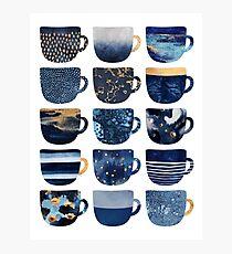 Pretty Blue Coffee Cups Photographic Print