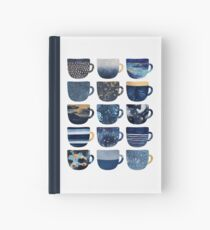 Pretty Blue Coffee Cups Hardcover Journal